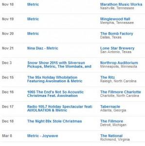 Metric tour dates
